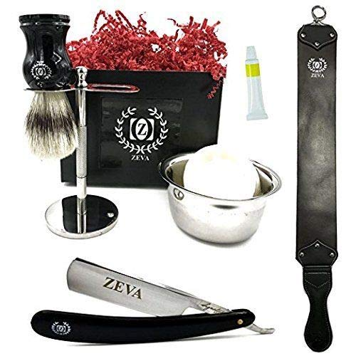 Mens Straight Razor Traditional Wet Shave Grooming Gift Kit 5 8  Carbon Steel, Hollow Ground Blade with Leather honing strop whet and Drip Stand (Black Razor)