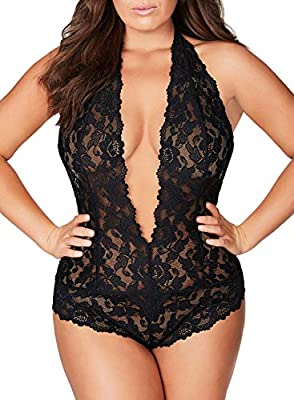 Plus Size Lingerie for Women Sexy Backless Deep-V Plunging One Piece Lace Teddy Bodysuit (XXXX-Large?fits Like US XXX-Large?, Black)