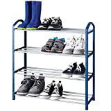 Smart Design 4-Tier Steel Shoe Rack - Holds 12 Pairs of Shoes - Easy Assembly - for Entryway, Closet, Garage, Kids - Home Organization (24 x 24 Inch) [Blue]