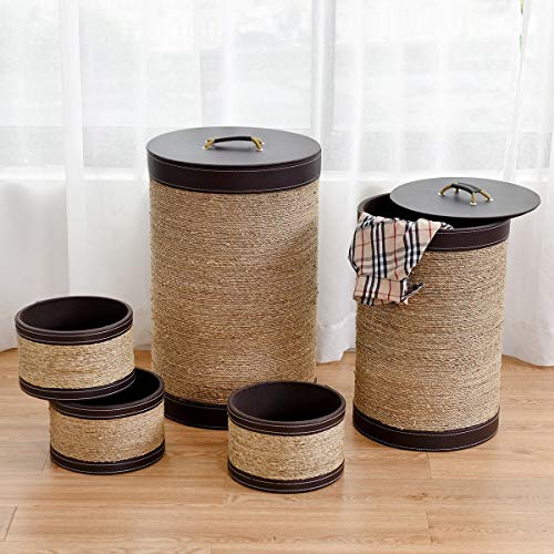 5 Pieces Round Storage Basket Seaweed Hamper Laundry Bin Organizer Stashing Clothes, Toys, and All Items.