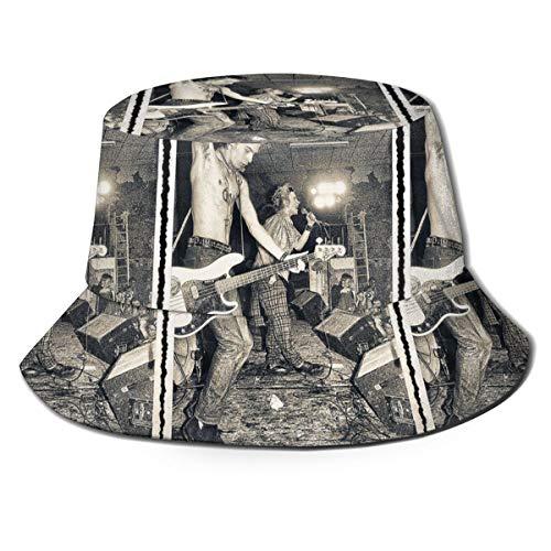 Rockfeeltee Summer Outdoor Classic Visor Hat Bucket Cap Sid Vicious Sex Pistols On Stage 1977 Fisherman's Hat for Men and Women