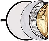 Polaroid Pro Studio - Disco Reflector Circular Plegable (5 en 1, 32 Pulgadas), Color Dorado, Plateado, Negro, Blanco y translúcido, Incluye Funda de Transporte