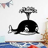 Tianpengyuanshuai Kunst Little Whale Vinyl Wandaufkleber Home Decoration Aufkleber Abnehmbare Wandaufkleber Wallpaper 42X46cm