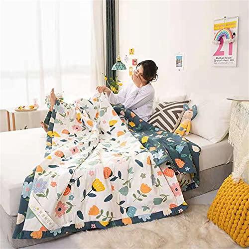 TAIZONG Manta de verano de algodón lavado transpirable, aire acondicionado, tamaño grande, pero doble, forma de flor de 122 x 198 cm