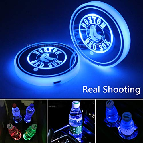2pcs Team Logo LED Cup Holder Lights for Red Sox Boston,7 Colors Changing USB Charging Mat Luminescent Cup Pad, Car LED Atmosphere Lamp