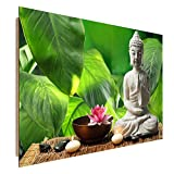 Feeby Frames, Tableau Mural, Tableau Déco, Tableau imprimé, Tableau Deco Panel, 50x70 cm, Bouddha, Culture, Zen, Moderne, Feuille, Vert, Bougies