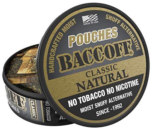 BaccOff, Classic Natural Pouches, Premium Tobacco Free, Nicotine Free Snuff Alternative (5 Cans)