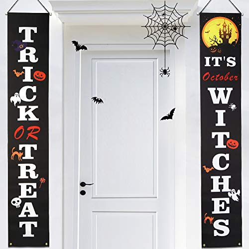Aitsite Halloween Couplets, Halloween Banner Hängende Dekorationen Outdoor Indoor mit Trick Or Treat Hängeschild für Haustür Veranda Garten Party Dekoration