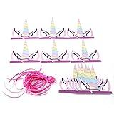 ODN 12tlg. Einhorn Stirnband Haarband Partyhüte Glitter Geburtstag Wedding Party Kostüm Kopfbedeckung für Kinder oder Erwachsene, Bunt