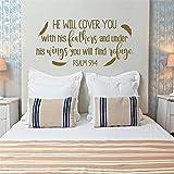 Schriftzug Vers Abnehmbarer Wandtattoo Christliche Aufkleber PSALM 91: 4 Er wird dich mit seinen und unter seinen Flügeln bedecken57 * 145cm