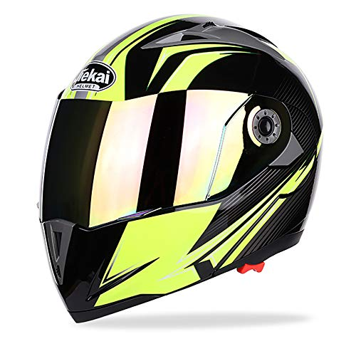 Casco Adulto Motocross Casco Integrale off Road Casco Moto MX Dirt Bike Casco modulare D.O.T Certified Fly Racing Tourist Open Face colorato,Yellow,XXL
