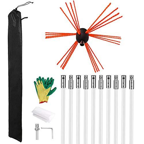 GJCrafts Cepillo para limpieza de chimeneas, 33 pies, kit de limpieza de chimenea, kits de cepillo para limpieza de tuberías para chimenea, con 10 varillas flexibles de nailon, guantes, bolsa sellada