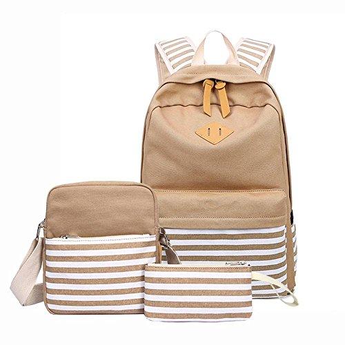 Waroomss Schulrucksack aus Leinen, 3 Stück Casual School Bookbag, Rucksäcke für Laptop College + Tasche/Umhängetasche + Etui für Herren, Damen, Mädchen kaki
