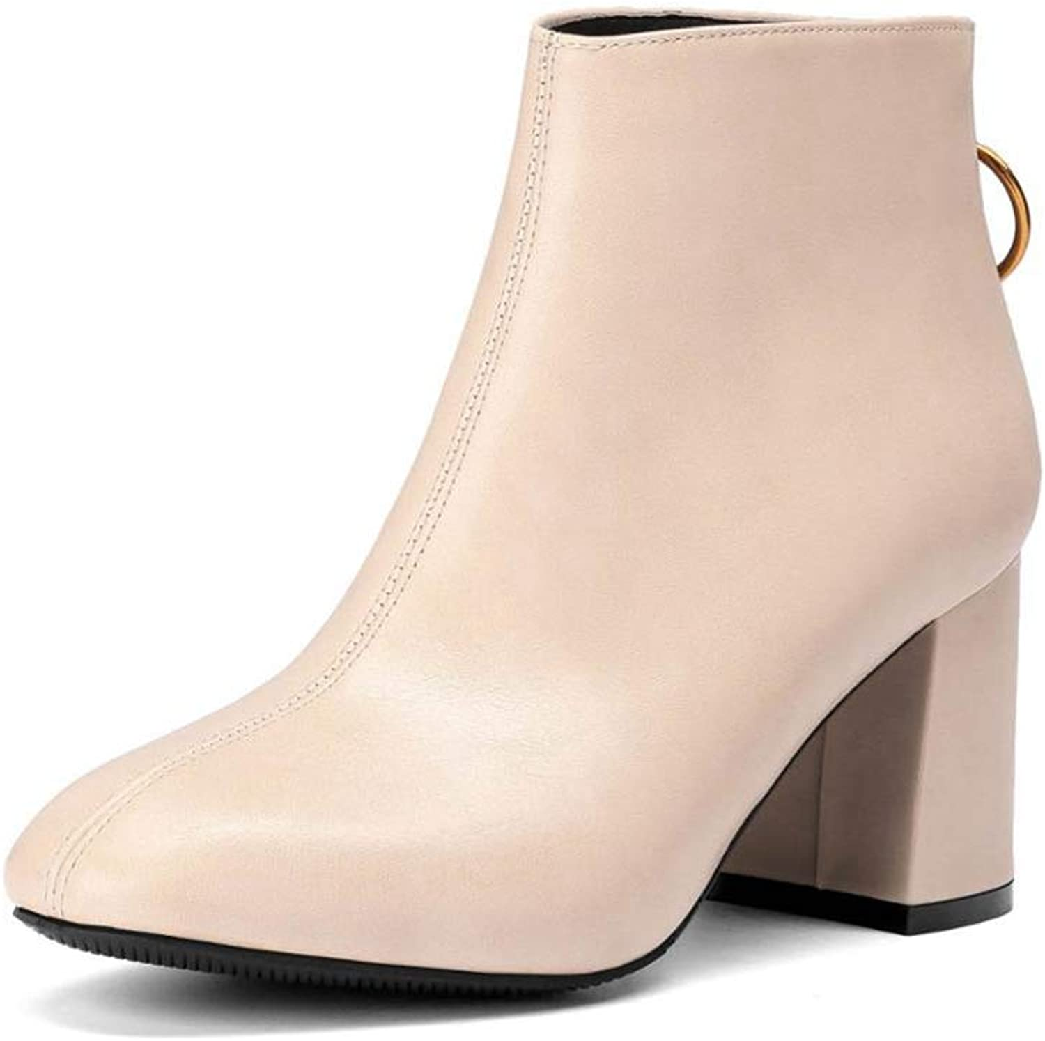 Btrada Women's Winter Ankle Boots Square High Heel Zipper Ladies Booties Fashion Simple Style Dress shoes