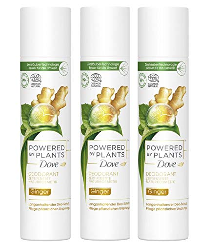 Dove Deo-Spray Powered by Plants Ginger 3x75 ml (3er Pack) ohne Aluminiumsalze