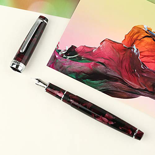 Newmoon Fountain Pen Bent Nib Fude Pen Dark Red Celluloid Calligraphy Fude Pen