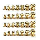 28PACK 4MM 5MM 6MM 7MM 8MM 9MM 10MM Combination Sam Browne Solid Brass Round Button Studs,...