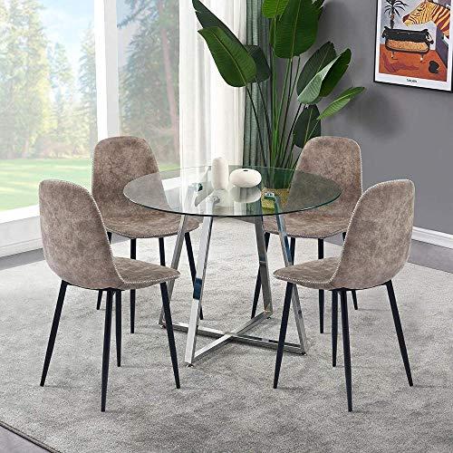 Juego de 4 sillas de Comedor Modernas Sillas deCocina para el Desayuno con Asiento Acolchado de Tela de Gamuza sintéticadesgastada Patas de Metal ResistentesCafé de Oficina en casa