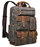 ALTOSY Canvas Backpack Vintage Leather Laptop Bags Men Women Travel Rucksack (5351 Canvas Light Green)