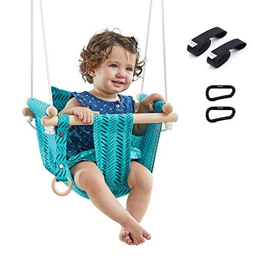 Happypie seguridad columpio de lona colgante asiento interior niños al aire libre hamaca juguete (verde)