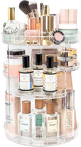Make-up-Organizer aus Acryl, Kosmetikaufbewahrung und Parfüm-Organizer in der Arbeitsplatte, Badezimmer-Kommode, 360 Grad drehbarer Make-up-Halter für Beauty Caddy Hautpflege & Transparent