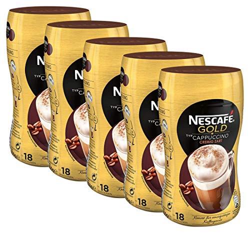 NESCAFÉ Gold Typ Cappuccino Cremig Zart, löslicher Bohnenkaffee aus erlesenen Kaffeebohnen, koffeinhaltig, mit extra viel Schaum, 5er Pack (5 x 250 g)