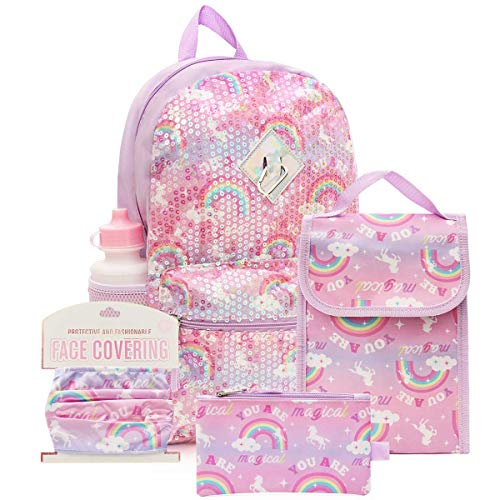 6 Pc. Sequin Girls Backpack Set, 16 inch, w/Washable Cloth Kids Face Mask, Lunch Bag, Pencil Case (Rainbow Unicorn)