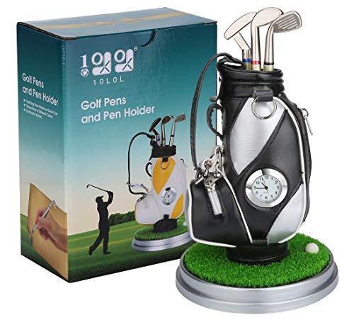 10L0L ミニ デスクトッ プアルミ合金 ゴルフバッグ ペンホルダー ゴルフ時計 ゴルフ贈り物の6件セットギフト クリスマスプレゼント 新年の贈り物 (黒+銀)