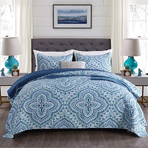 Luxe Colcha 2019 Diseños Acolchados Parcheados Trabajo En Tamaño Doble Y King Colchas Azules Edredón Edredón con 2 Funda De Almohada, 230X240Cm