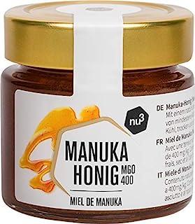 nu3 Miel de Manuka - Miel original de Nueva Zelanda - Tarro de vidrio con 125g - 400 mg/kg de MGO - Almíbar centrifugado en frío - 100% pura miel ecológica sin gluten de alta calidad