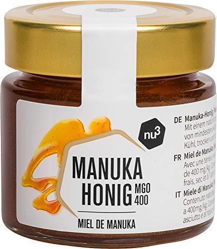 nu3 Miel de Manuka - Miel pura 100{c6983a32cee869a072bb0a8532cedc22fbcbf534a7a063416b145a58c1984f45} original de Nueva Zelanda - Tarro de vidrio con 125g 400+ MGO - Centrifugada en frío para preservar los nutrientes naturales – Producto original ecológico