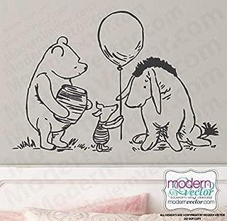 Classic Winnie the Pooh Balloon Piglet Eeyore Vinyl Wall Decal