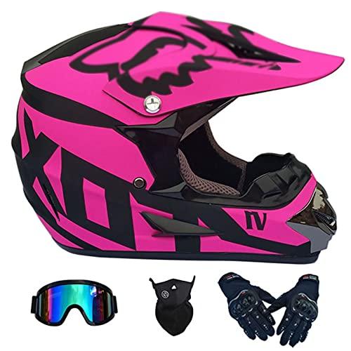 Cascos De Motocross, Negro + Rosa Adulto Cuesta Abajo DH Motocicleta Todoterreno Am Bicicleta De Montaña Casco Integral Casco De Montar con Gafas + Guantes + Protector Facial