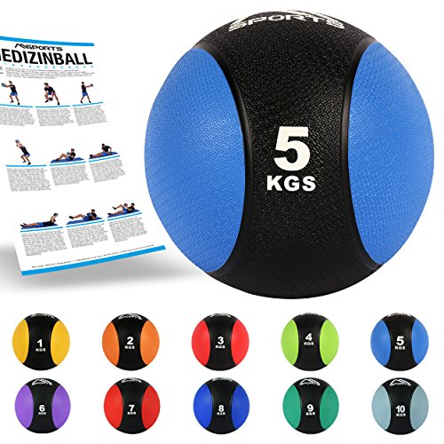 MSPORTS Medizinball 5 kg – Professionelle Studio-Qualität inkl. Übungsposter Gymnastikbälle