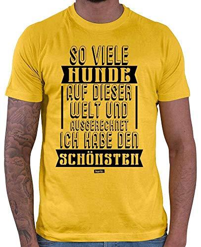Hariz – Camiseta para hombre, diseño con texto en alemán 'So viele Hunde auf diesem Welt', con tarjeta de regalo dorado amarillo M