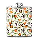 Frasco para licor,Peach-Pattern Fashion Portable Stainless Steel Hip Flask Whiskey Bottle for Men and Women 7 Oz