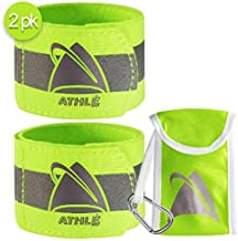 "Athlé Reflective Bands 2 Pack – Adjustable 16"" Neon Yellow Straps for Wrist, Arm and Ankle - High Visibility Safety Gear f..."