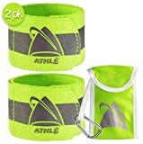 """Athlé Reflective Bands 2 Pack – Adjustable 16"""" Neon Yellow Straps for Wrist, Arm and Ankle - High Visibility Safety Gear for Running, Jogging, Cycling and Biking - Bonus Carrying Bag"""