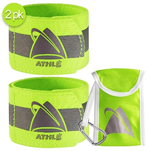 "Athlé Reflective Bands 2 Pack – Adjustable 16"" Neon Yellow Straps for Wrist, Arm and Ankle - High Visibility Safety Gear for Running, Jogging, Cycling and Biking - Bonus Carrying Bag"