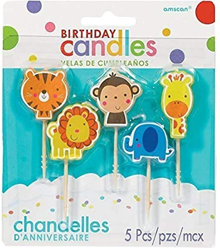 Jungle Animal Pick Birthday Candles | Party Supply