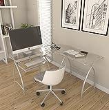 Ryan Rove Stillman Contemporary 3-Piece Corner Space Saving L-Shaped Computer Desk - Silver