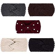 Whaline 5 Pieces Knit Headbands Ear Warmers Head Wraps for Women Girls