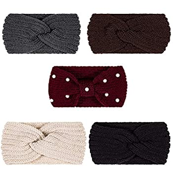 Whaline 5 Pieces Knit Headbands Winter Ear Warmers 4 Elastic Turban Head Wraps and 1 Pearl Crochet Hair Band Hair Scrunchies Scarves for Women Girls  Autumn&Winter Colors