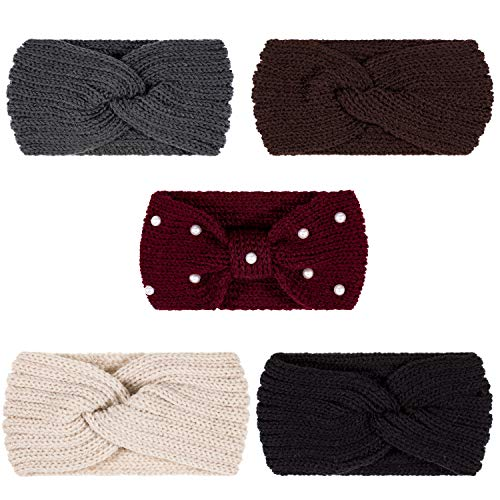 Whaline 5 Pieces Knit Headbands Winter Ear Warmers, 4 Elastic Turban Head Wraps and 1 Pearl Crochet Hair Band, Hair Scrunchies Scarves for Women Girls (Autumn&Winter Colors)