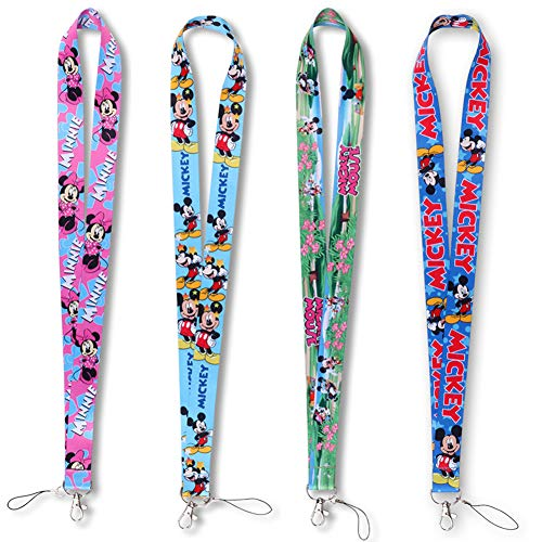 4 Pack Cartoon Neck Lanyard Necklace Phone Straps Key Chain,Neck Lanyard for ID Badge Holder Bags Accessories with Lobster Clasps