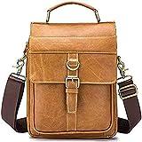 YXLYLL Bolso de hombro de cuero de los hombres, bolso del cartero de los hombres, bolso de viaje de gran capacidad, bolso de mensajero, maletín retro de ocio
