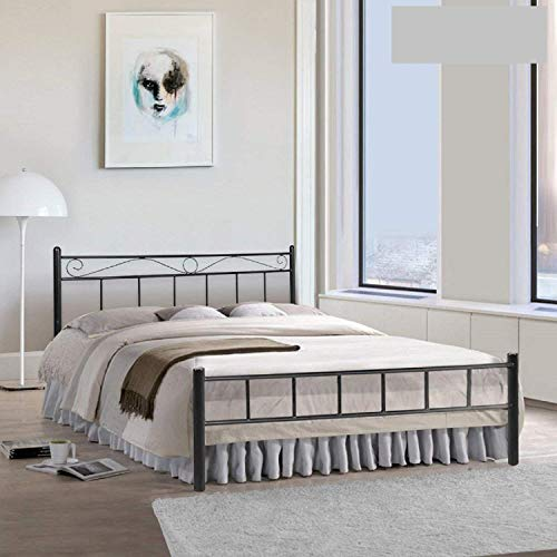 Metallika London King Size Metal Bed (Glossy Finish, Black) By FurnitureKraft