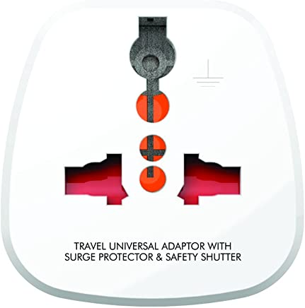 GM Modular 3008-3 Pin Universal Travel Adaptor (with Surge Protector and Safety Shutter)