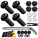 Aootf Anti Theft License Plate Screws- Black Screws for Locking Car Tag, Frame and Cover, Mounting Hardware Kit for Front/Rear, M6 Stainless Steel Screws, Caps, Fasteners Nuts, Rattle Proof Pads