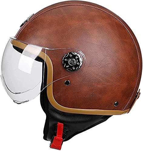 FFKL 3/4 Casco De Motocicleta PU Casco De Cuero Unisex-Adulto Casco Abierto-Casco Retro Vintage Estilo Motorbike Modular Medio Casco Dot/ECE AprobadoVIIPOO,Brown-M